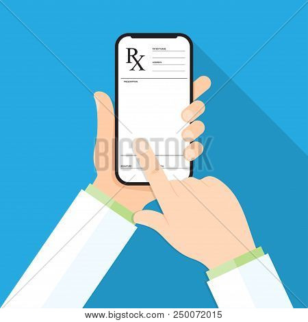 Doctor's Hand Holding A Smartphone With Rx Prescription On A Display
