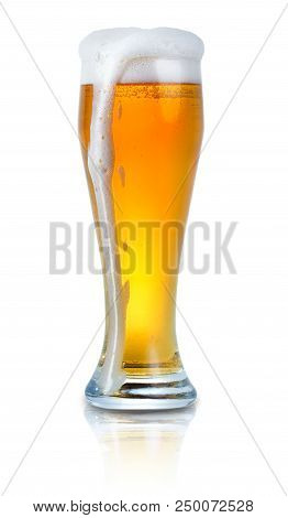 Glass Of Light Beer With Foam Isolated On White Background