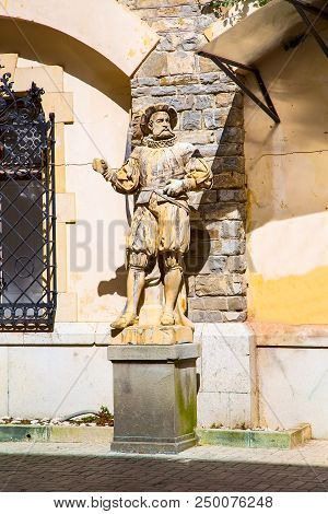 Sculptures in the garden of the Peles Castle, Transylvania, Romania poster