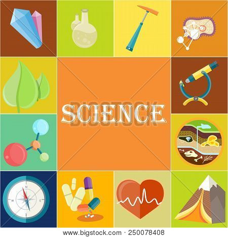 Science Poster With Chemical, Geology And Medicine Appliances, Natural Minerals, High Mountain, Gree
