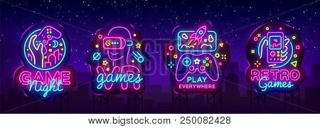 Video Games Logos Collection Neon Sign Vector Design Template. Conceptual Vr Games, Retro Game Night