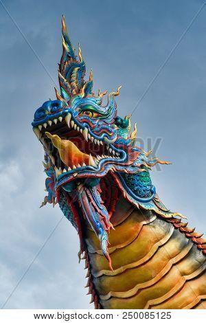 Close-up Of Thai Naga Head In Phu Manorom Temple, Mukdahan, Thailand