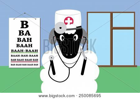 Sheep In A Doctor Uniform Making Medical Examination And Treatment Flat Design Cartoon Animation.