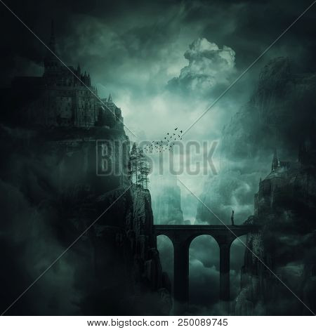 Surreal View As A Lonely Girl Stand On A Stone Bridge Surrounded By Dark Mountain Cliff With Castle