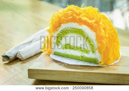 Gold Egg Yolk Thread Cakes Or Cake Foi Tong Lava Cake, Thai Cake.