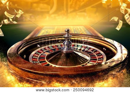 Collage Of Casino Images With A Close-up Vibrant Image Of Multicolored Casino Roulette Table With Po