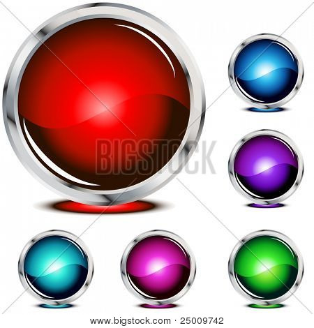 Six glossy buttons. Vector.