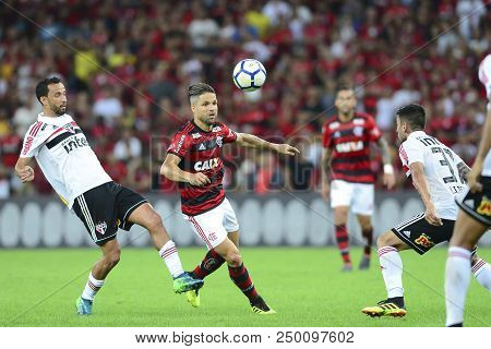 Rio, Brazil - June 18, 2018: Diego And Nene Player In Match Between Flamengo And Sao Paulo By The Br