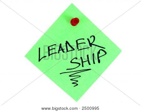 """A green piece of paper with """"Leadership"""" title on it isolated on the white background. poster"""