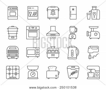 Kitchen Appliance Thin Line Icons Set. Outline Web Sign Kit Of Equipment. Electronics Linear Icon Co