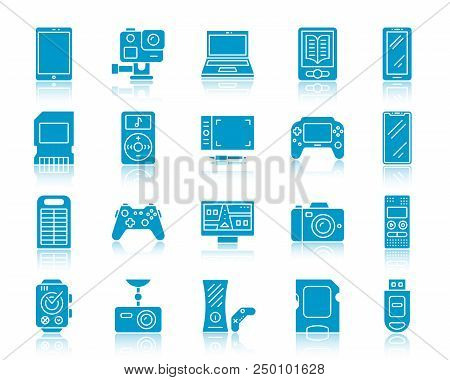 Device Silhouette Icons Set. Web Sign Kit Of Gadget. Electronics Monochrome Pictogram Collection Inc