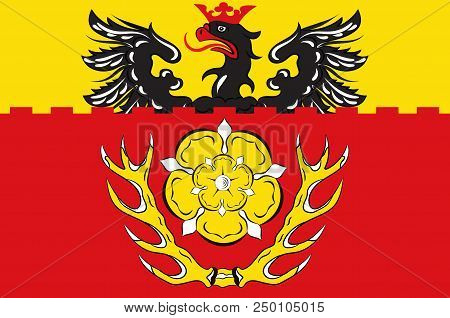 Flag Of Hildesheim Is A District In Lower Saxony, Germany. 3d Illustration