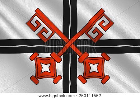 Flag Of Andernach Is A Town In The District Of Mayen-koblenz, In Rhineland-palatinate, Germany. 3d I