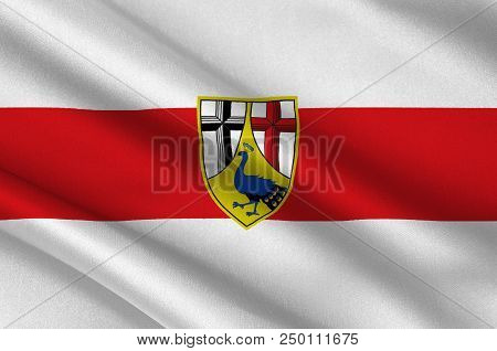 Flag Of Neuwied Is A District In The North Of Rhineland-palatinate, Germany. 3d Illustration