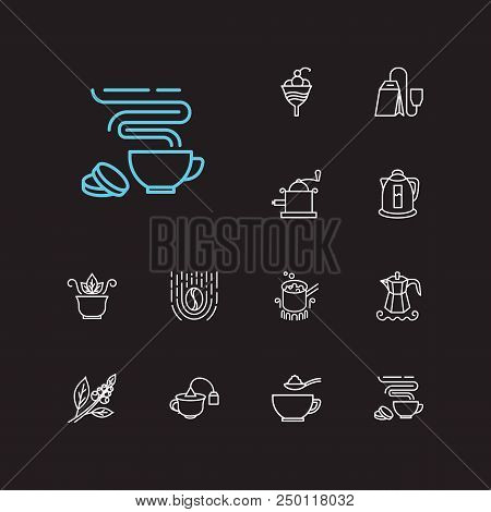 Coffee Icons Set. Coffee Beans And Coffee Icons With Cocktail, Teabag, Hand Coffee Grinder. Set Of C