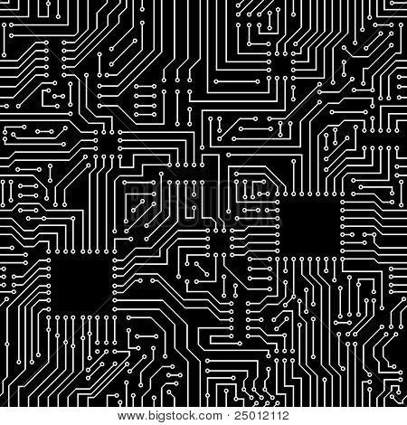 Seamless pattern. Computer circuit board. poster