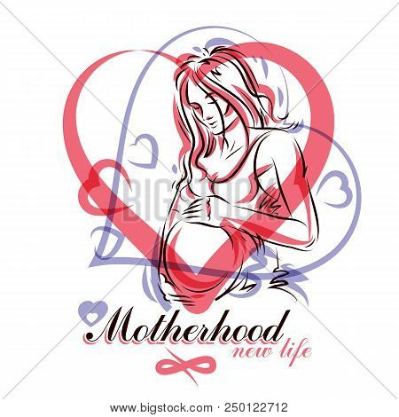 Pregnant Female Beautiful Body Outline, Mother-to-be Drawn Vector Illustration. Obstetrics And Gynec