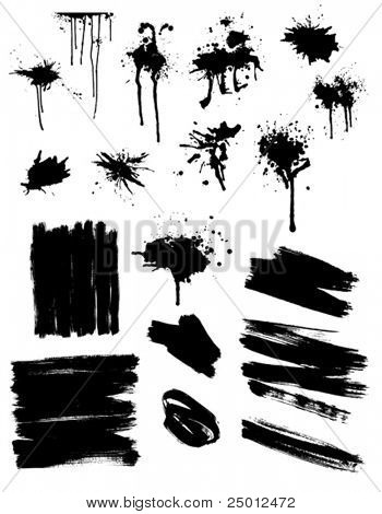 set of black splashes and brush strokes