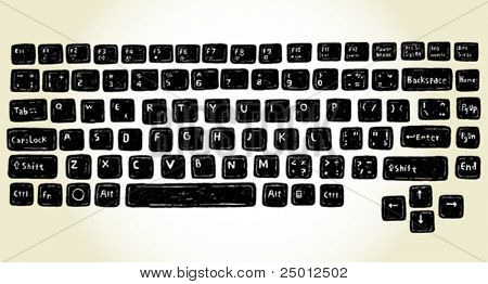 set of hand drawn keyboard buttons