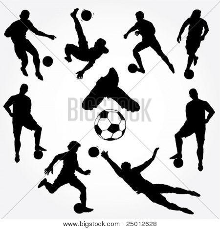 Silueta de jugadores de fútbol dibujado mano