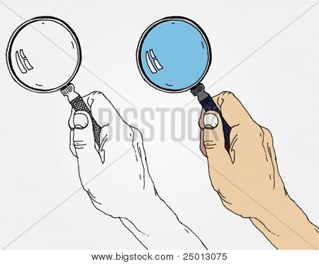Illustration of Hands with Magnifier