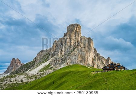 Nuvolau Massif In Dolomiti, Italy. View From Passo Giau Over Mount Ra Gusela, South Tirol, Dolomites
