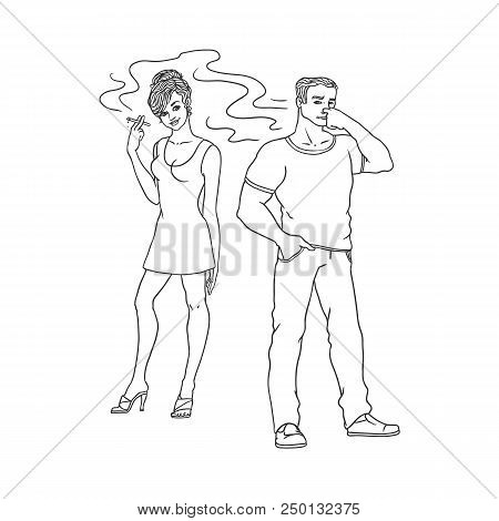 Young woman in red dress smoking, irritated man pinches nose. Caucasian male female characters, smoker nicotine addiction tobacco passive smoking risk concept. Isolated monochrome vector illustration poster