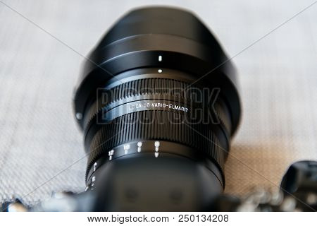 Paris, France - Jun 30, 2018: New Panasonic Lumix Dmc-gh5 - And Newest Leica Vario-elmarit 8-18 Micr