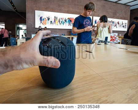 Paris, France - Jul 16, 2018: Man Hand Admiring New Apple Store The Latest Apple Computers Homepod S