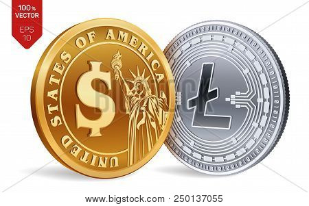 Litecoin. Dollar Coin. 3d Isometric Physical Coins. Digital Currency. Cryptocurrency. Golden And Sil