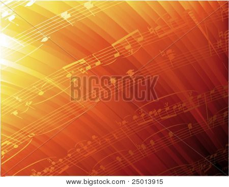 curving rays and music notes-vector background