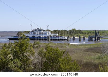 Fort Fisher , North Carolina, Usa - April 20, 2018: The Southport - Fort Fisher Ferry Boat, A Year-r