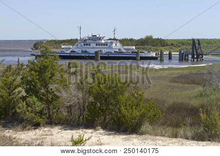 Fort Fisher , North Carolina, Usa - April 20, 2018: The Southport - Fort Fisher Ferry Boat Coming In