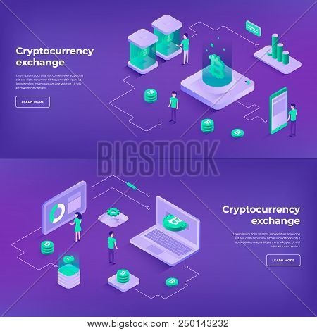 Cryptocurrency Exchange And Blockchain Isometric Compositions. Infographics Vector Illustrations.