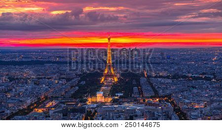 Paris, France - June 30, 2017: Tour Eiffel In Twilight Red Sky Panorama From Observatory Deck Of Tou