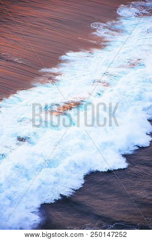 Color Wave Of The Ocean During Sunset, Open Water Landscape. Blue Water Background. Nature, Ocean, S