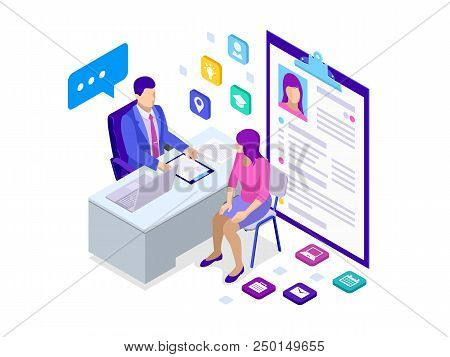 Isometric Woman During Job Interview. Male Office Worker In Business Suit Sitting At Desk With Lapto