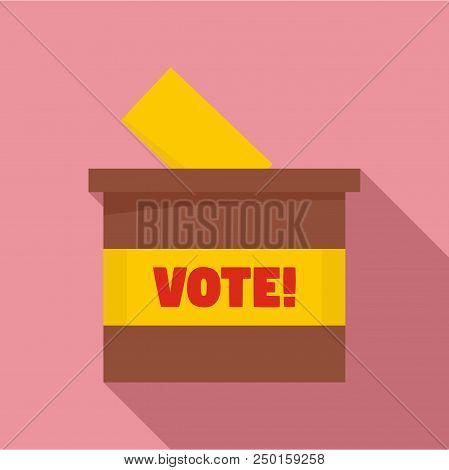 Wood Vote Box Icon. Flat Illustration Of Wood Vote Box Vector Icon For Web Design