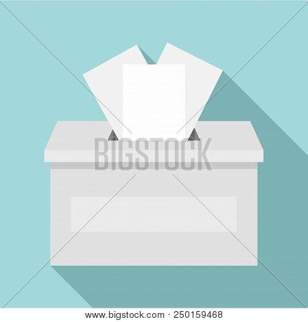 Ballot Box Icon. Flat Illustration Of Ballot Box Vector Icon For Web Design