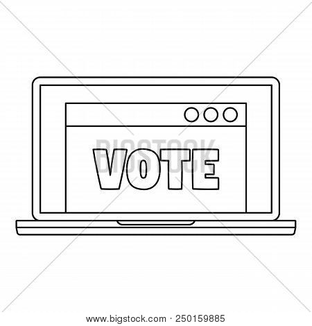 Online Vote Icon. Outline Online Vote Vector Icon For Web Design Isolated On White Background