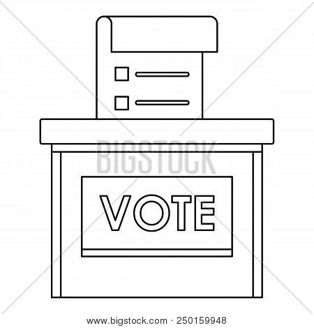 Vote Election Box Icon. Outline Vote Election Box Vector Icon For Web Design Isolated On White Backg