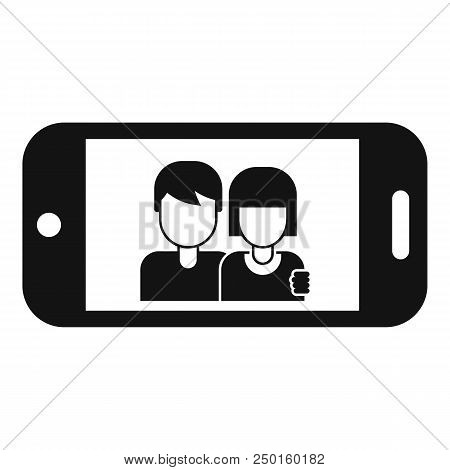 Couple Take Selfie Icon. Simple Illustration Of Couple Take Selfie Vector Icon For Web Design Isolat