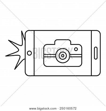 Smartphone Take Photo Icon. Outline Smartphone Take Photo Vector Icon For Web Design Isolated On Whi