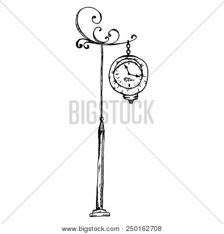 Vintage Street Clock. Old Street Clock. Vector Of A Beautiful Antique Clock. Hand Drawn Outdoor Cloc