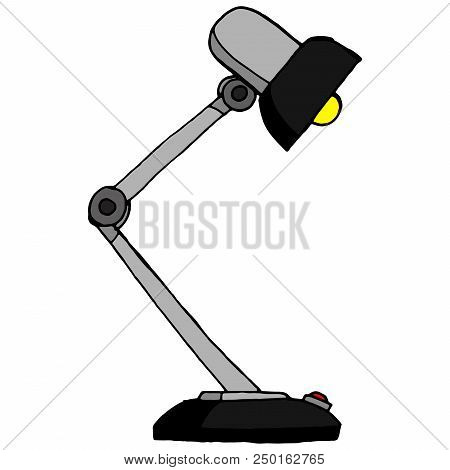 Table Lamp. Vector Illustration Of Retro Table Lamp. Hand Drawn Old Reading Lamp.