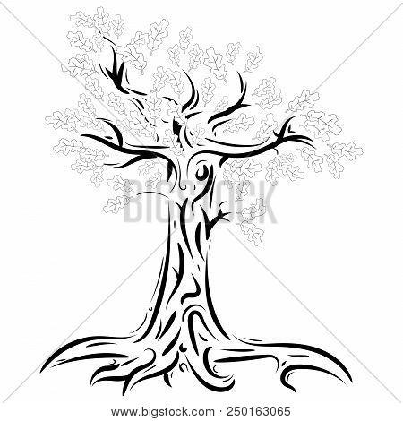 Oak. Vector Illustration Of An Oak Tree With Foliage. Logo Tree Is Oak With Foliage.