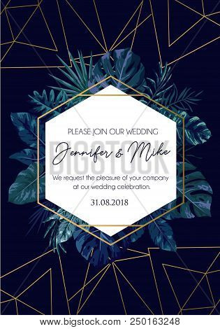 Save Our Date Wedding Invitation Design. Elegance Template For Engagement Or Wedding With Rose Gold