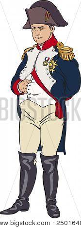 Napoleon Bonaparte wearing a blue camisole. Color illustration.