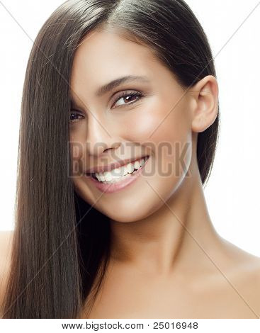 portrait of attractive  caucasian smiling woman isolated on white studio shot