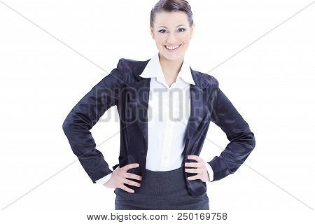 In Full Growth. Confident Business Woman.isolated On White Background